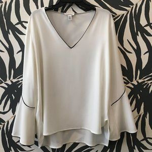 Calvin Klein high/low bell sleeve blouse